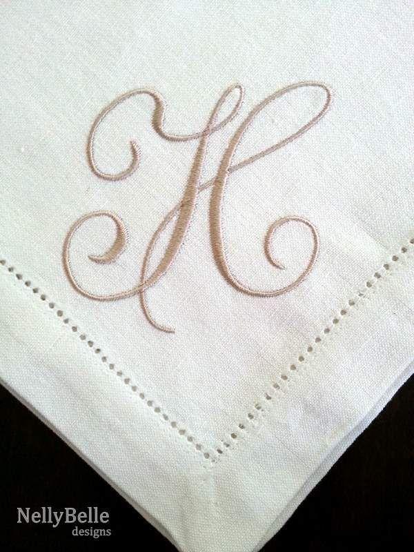 Monogrammed napkin. Over-sized taupe monogram on linen napkin ...