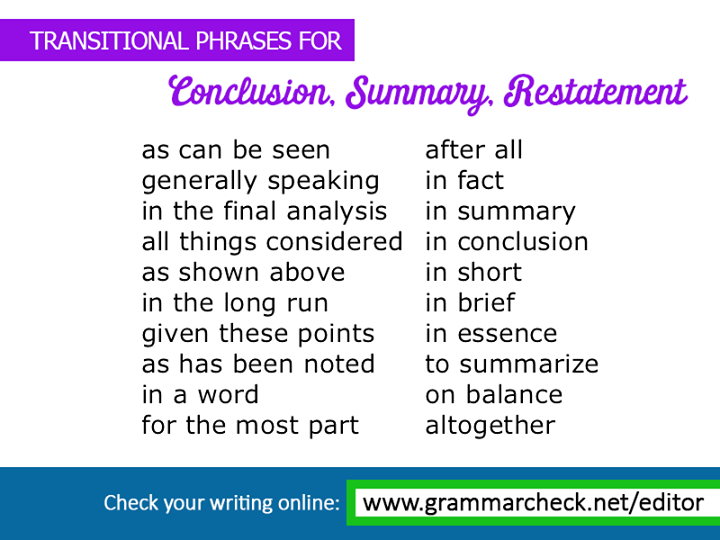 Transitional phrases for conclusion summary and restatement