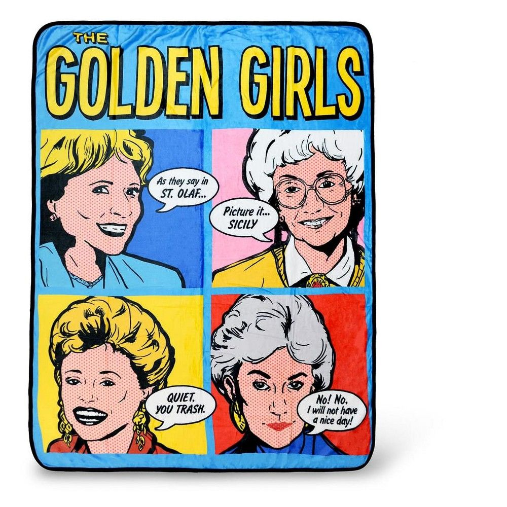 Just Funky Golden Girls Pop-Art Throw Blanket | Golden Girls Quotes | 60 x 45 Inches