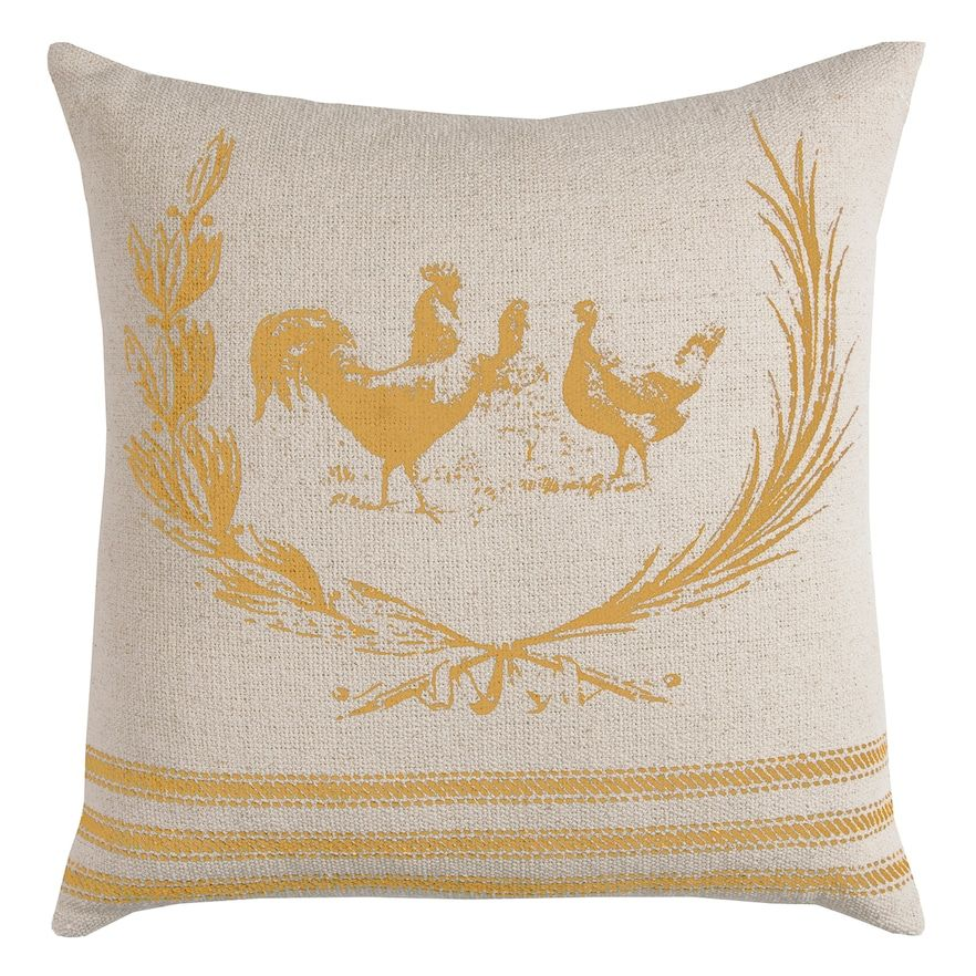 Rizzy Home Rooster Throw Pillow, Natural