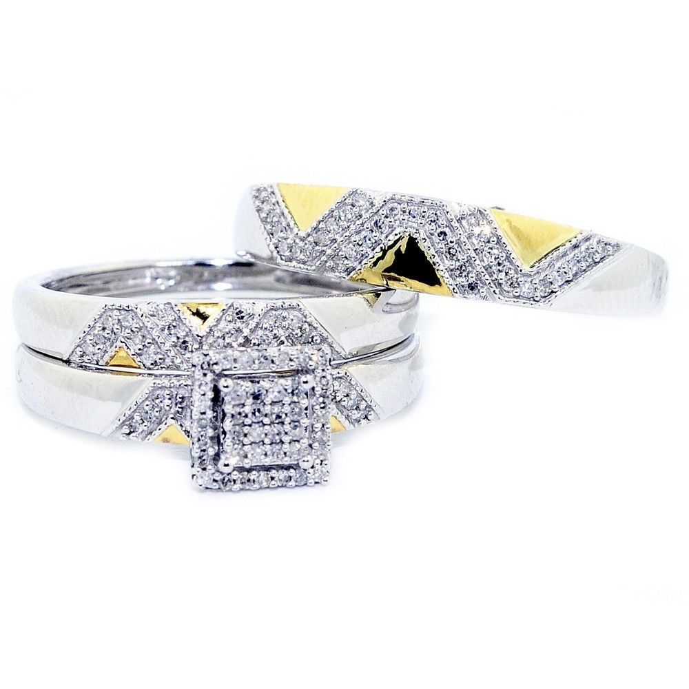 K white gold trio rings wedding set his and hers twon tone