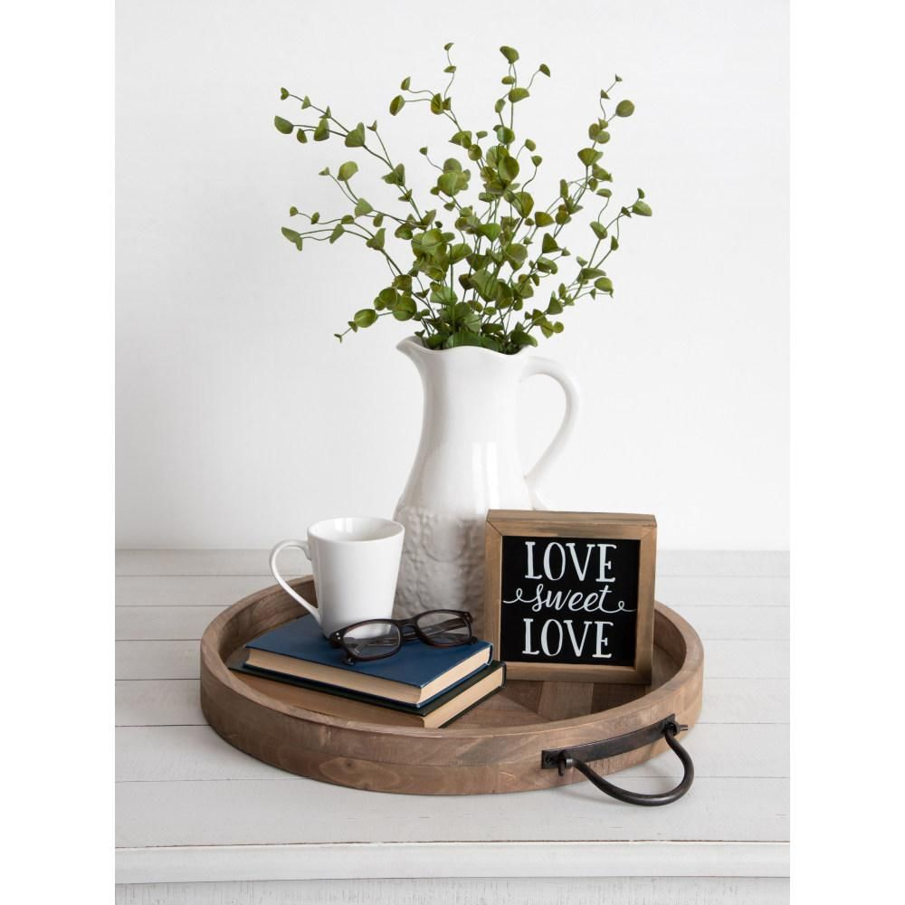Kate and Laurel Marmora Rustic Brown Decorative Tray-214399 - The Home Depot