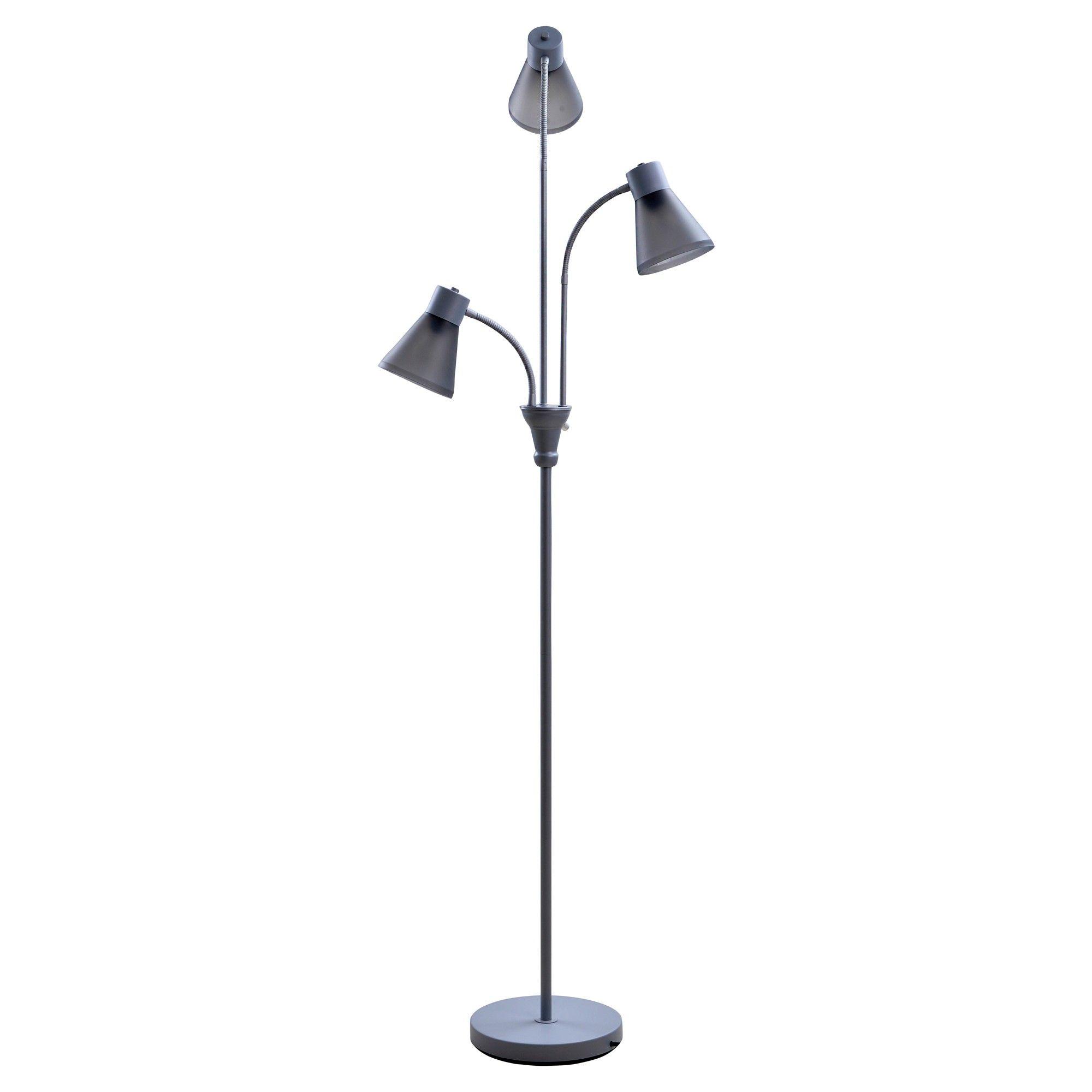 MultiHead Floor Lamp Gray Includes Energy Efficient Light