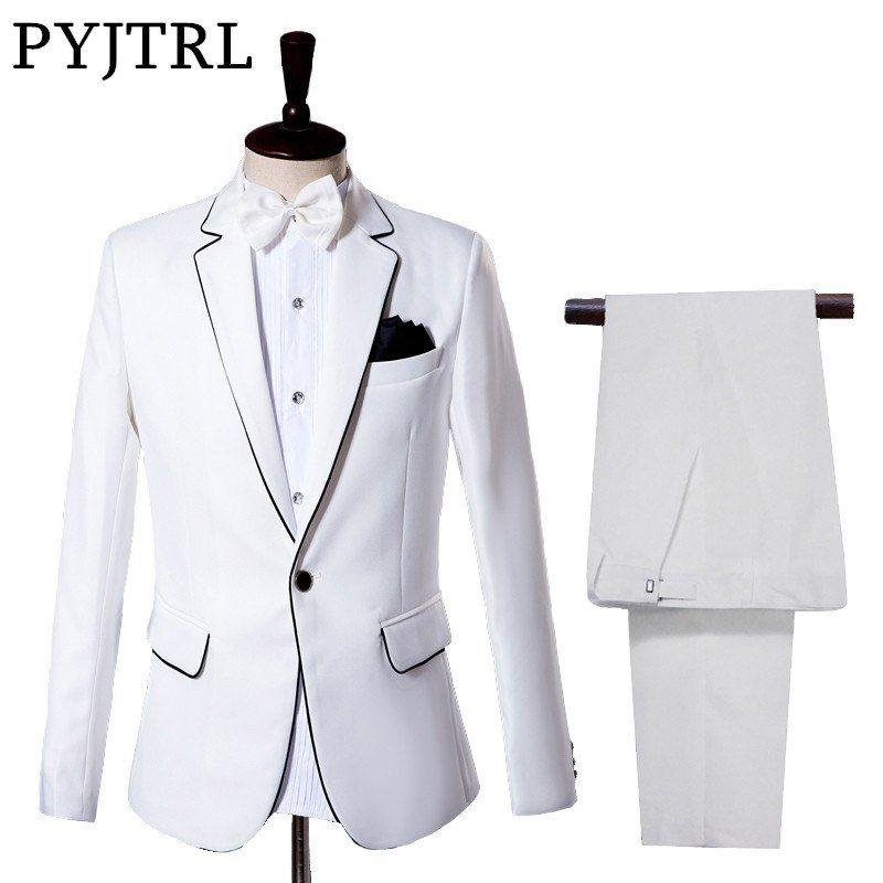 Ucuz Ceket Pantolon Erkek Takim Elbise Damat Smokin Elbise Beyaz Dugun Beyefendi Ince Takim Elbise Satin Kalite Uygun Dogrudan Cin Takim Elbise Smokin Fit