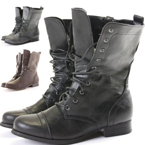 Womens Combat Style Boots Ebay