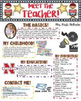 Meet the Teacher Newsletter- EDITABLE- Hollywood Theme #meettheteacherideas