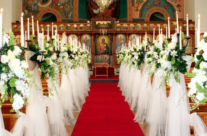 Tall Candelabras Covered In Tulle Church Aisle Decorations