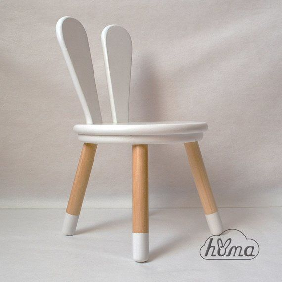 Wooden Kids Chair Bunny White Gray Brown Color Kids Furniture