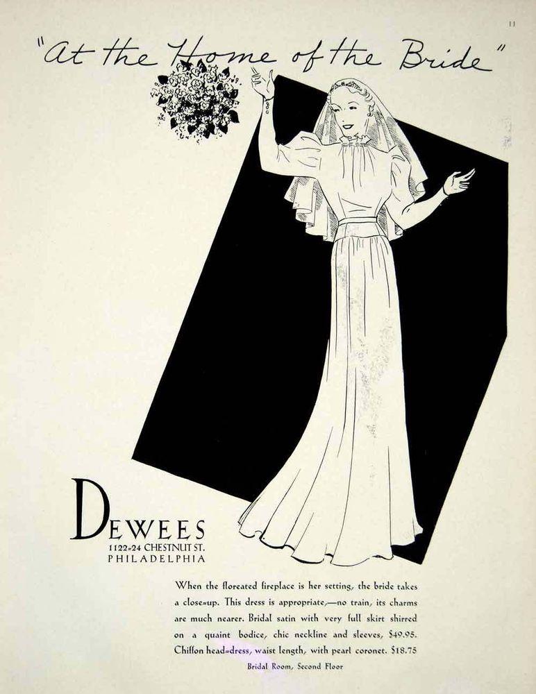 1936 Ad Vintage Satin Wedding Dress Gown Bride Veil Fashion Dewees ...