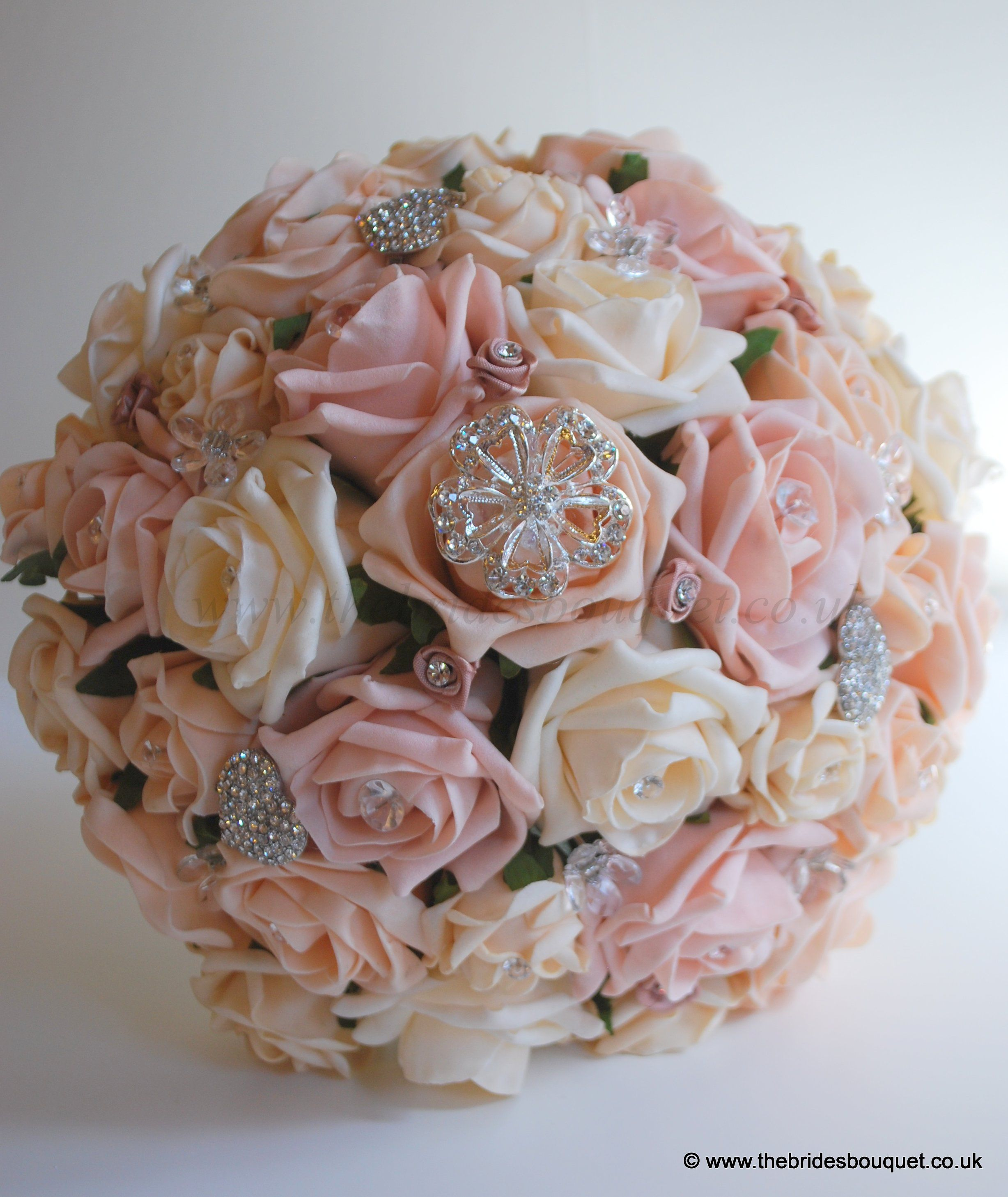 Flower girl bouquet peach rose artificial childs posy with ivory