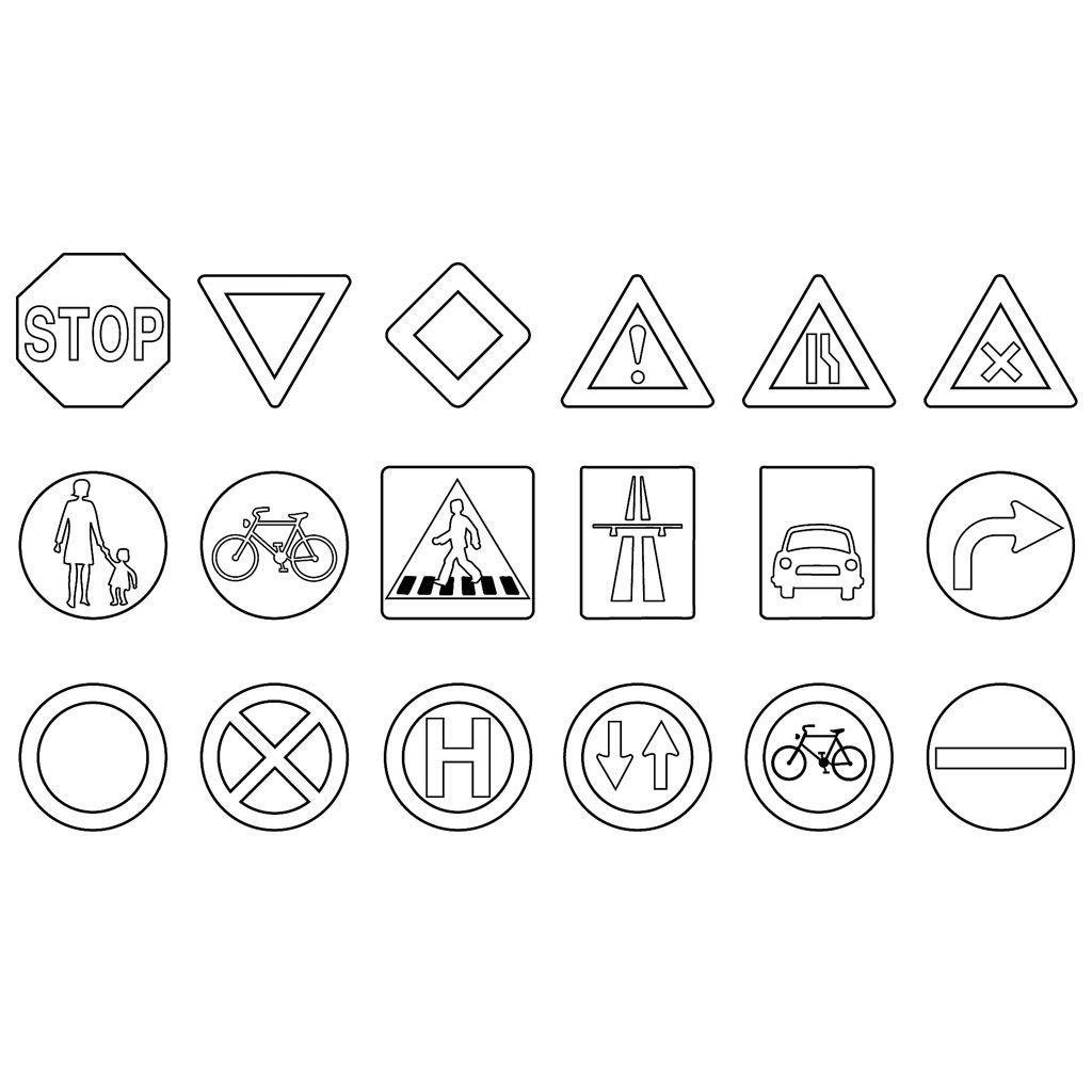 Verkehrszeichen Zum Ausmalen 100 Tage Schule Verkehrszeichen