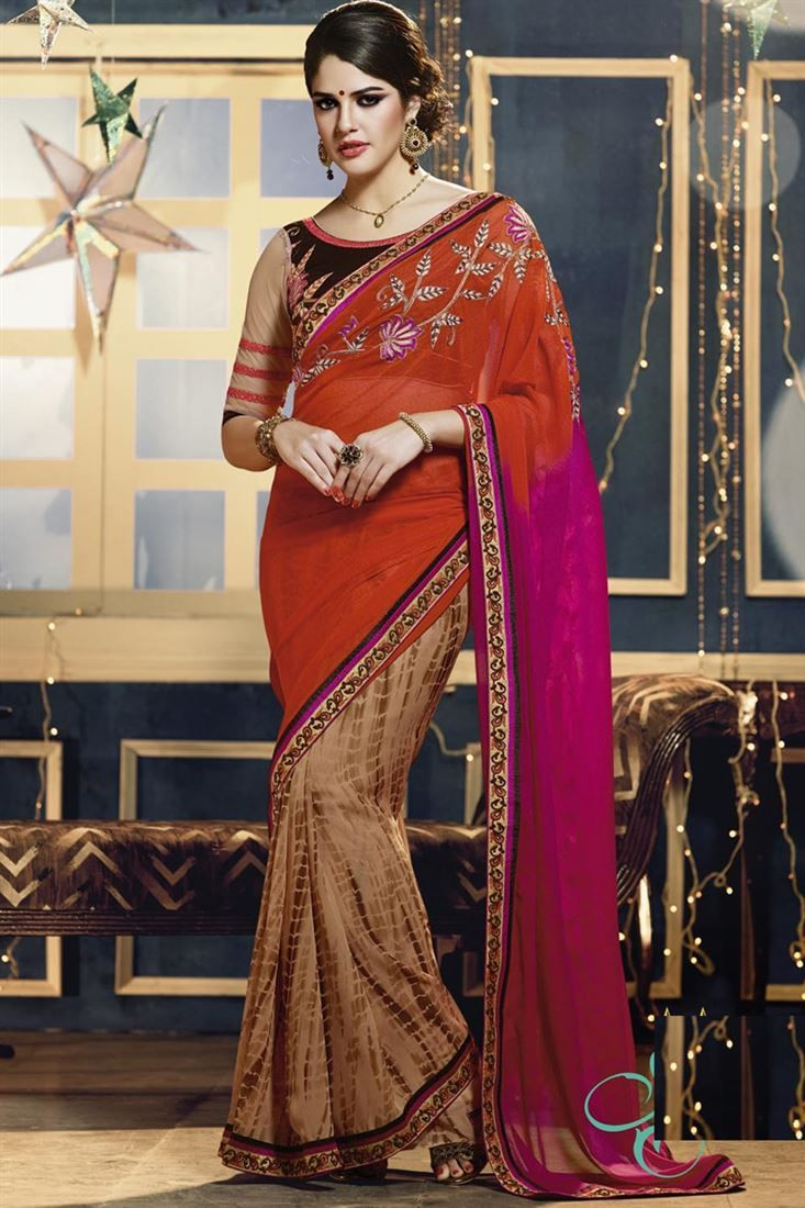 Pink And Fawn Half And Half Designer Saree With Blouse From Skysarees.