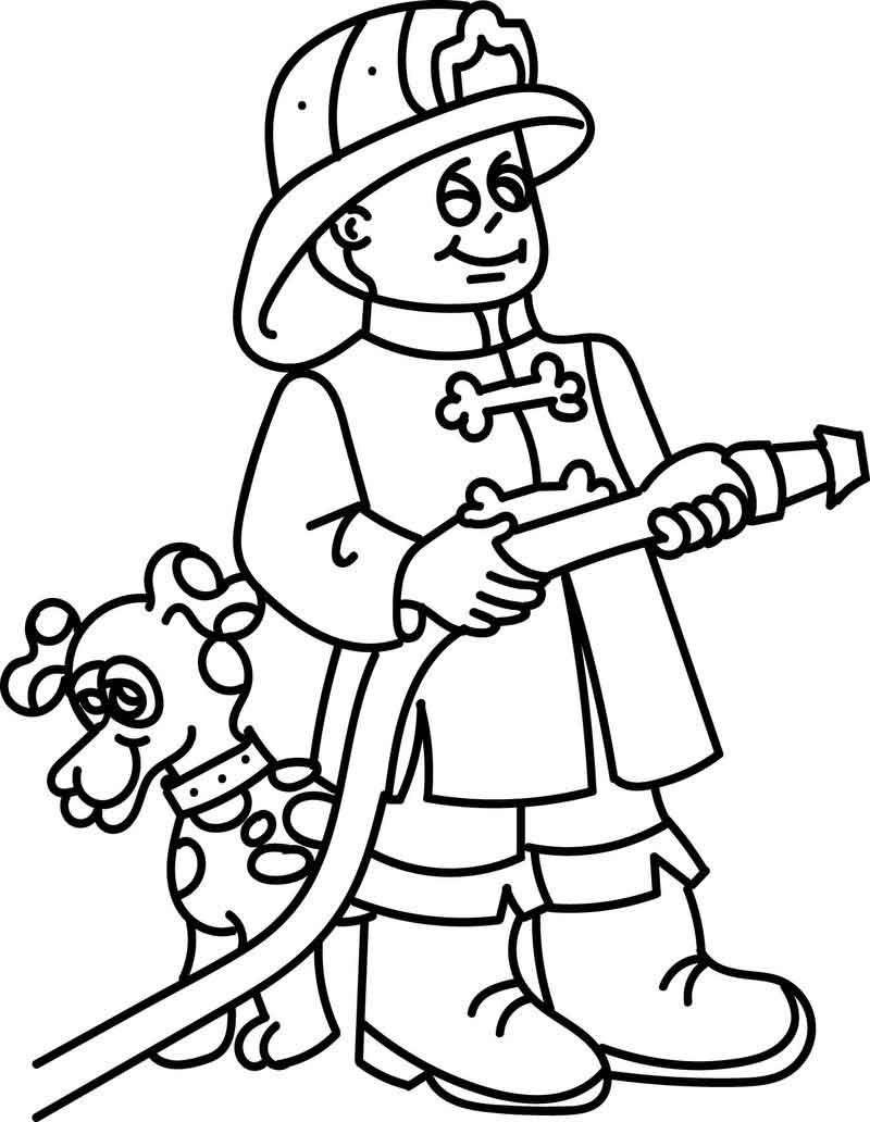 Fireman And Dog Coloring Page Desenhos de profissões