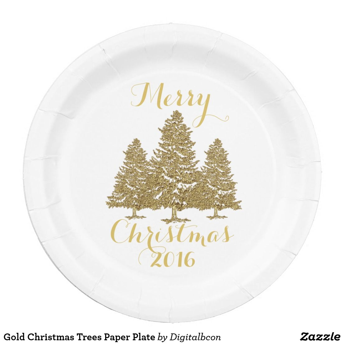 Gold Christmas Trees Paper Plate Zazzle Com Gold Christmas Tree Gold Christmas Christmas Paper Plates
