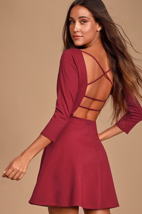 Lulus | Don't Stop the Beat Burgundy Backless Skater Dress | Size X-Small | 100% Polyester #shortbacklessdress