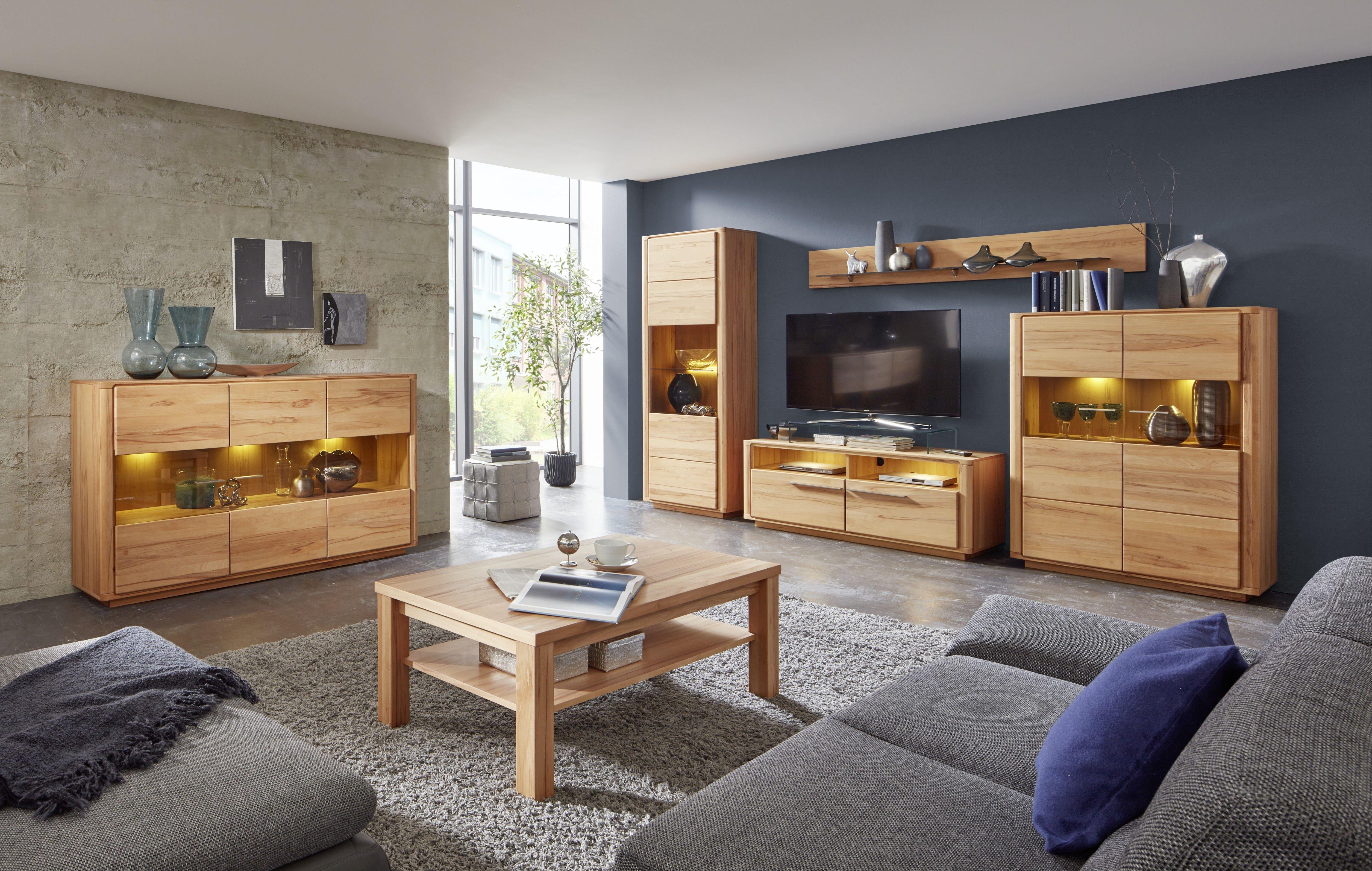 wohnwand mit sideboard kernbuche teilmassiv woody 35 00272 holz modern jetzt bestellen unter. Black Bedroom Furniture Sets. Home Design Ideas