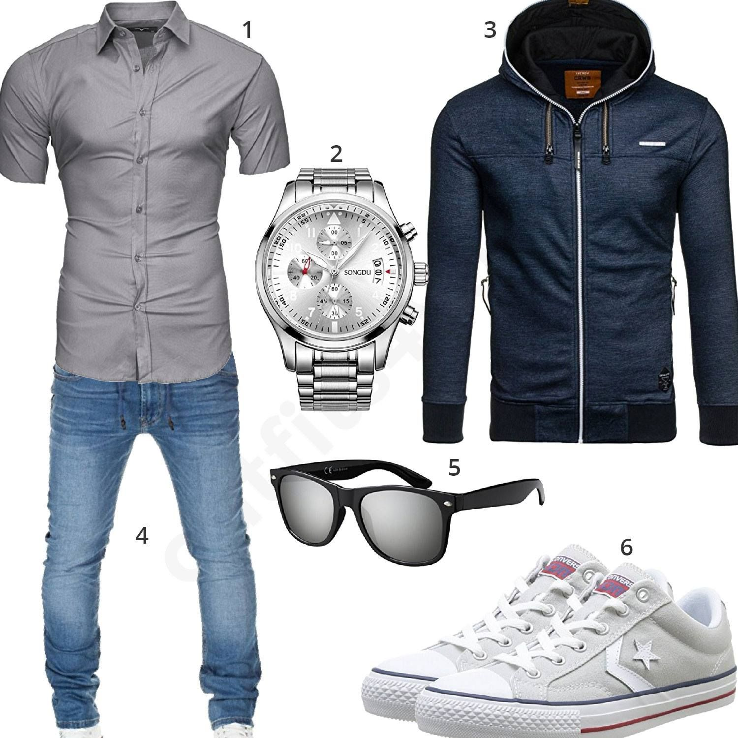 m nner outfit mit kurz rmeligem hemd songdu armbanduhr bolf hoodie grauem sonnenbrille. Black Bedroom Furniture Sets. Home Design Ideas