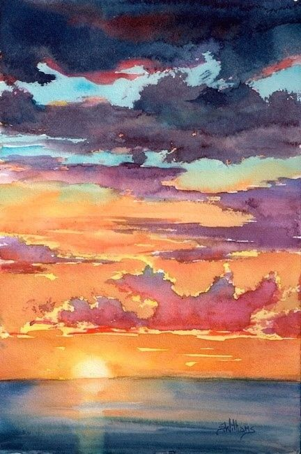 Pin By Arika Adomson On Watercolor Paintings Watercolor Sunset