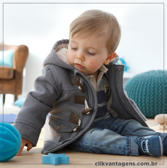 Baby Boy Warm Winter Horn Button Outerwear Toddler Hooded Coat Snowsuit Jacket