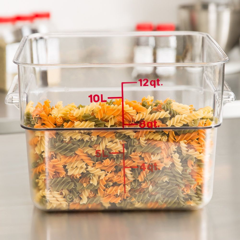 Cambro 12sfscw135 12 Qt Clear Square Polycarbonate Food Storage Container With Red Gradations Ikea Food Storage Food Storage Containers Cambro