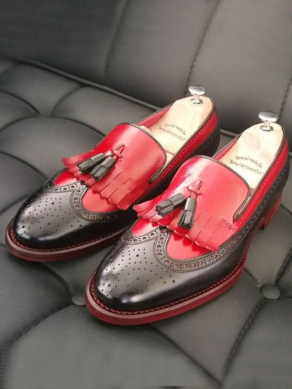 The Celsus Kiltie Tassel Loafer  Red is part of Tassel loafers - Product Calf Leather Bespoke Shoes Color code Red Shoes Material CalfLeather Available Size 3940414243444546 Package Include Shoes Only Note  	Bespoke shoes are made to order Please keep in mind the shipping may takes 1014 business days for bespoke shoes   	If you want to Engrave  Your Name  inside these shoes  Write your  FIRST  and  LAST  name in Notes, while processing your order