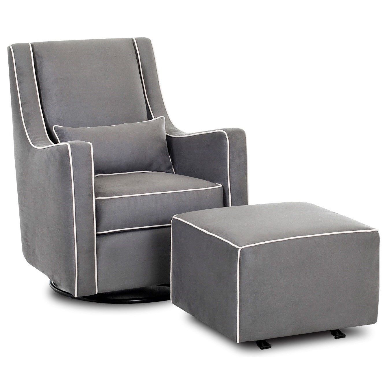 Chairs and Accents Lacey Swivel Gliding Chair and Ottoman