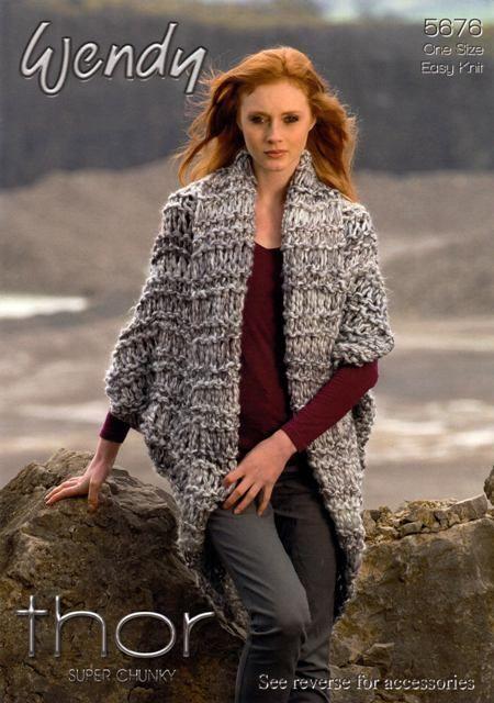 Knitting Patterns For Long Cardigan Chunky : Knitting Pattern - Wendy 5676 - Thor Super Chunky ...