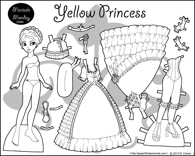 A Black And White Princess Coloring Page To Print Dress Up With Two Ballgowns