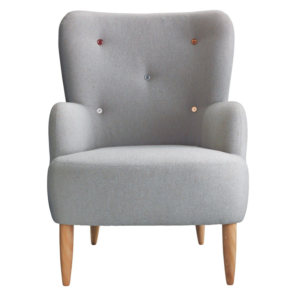 WILMOT Grey Wool Mix Armchair With Multi Coloured Buttons | Buy Now At  Habitat UK