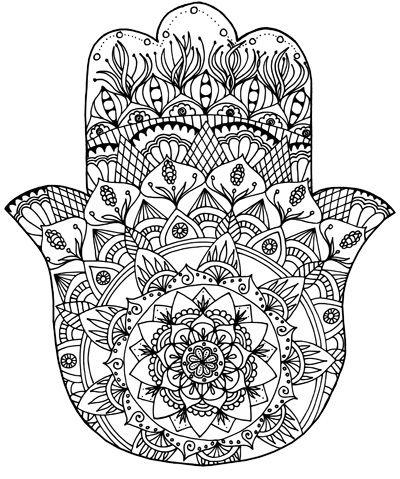 Sarah Ganaway Hamsa Coloring Page Print Abstract Coloring