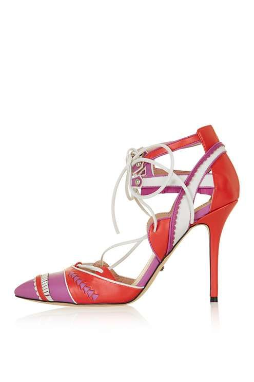 GIGI Fringed Court Shoes // Pink and red shoes // lace up love