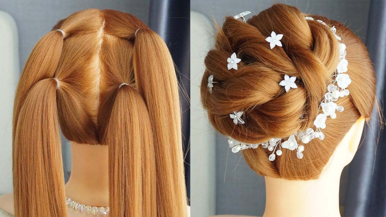 New Latest Bun Hairstyle With Trick Prom Hairstyles Updos Easy Part Easy Party Hairstyles Medium Hair Styles Simple Prom Hair