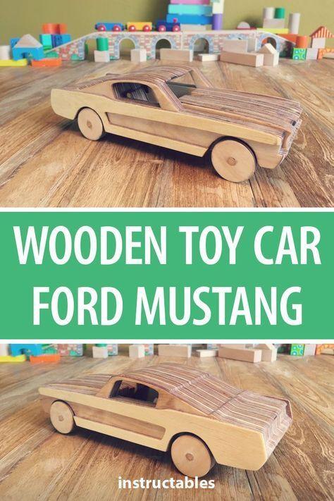 Construa um carro de brinquedo de madeira Ford Mustang a partir de camadas de madeira compensada. .
