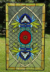 Large Stained Gl Window Panels 20 X 34 Jeweled