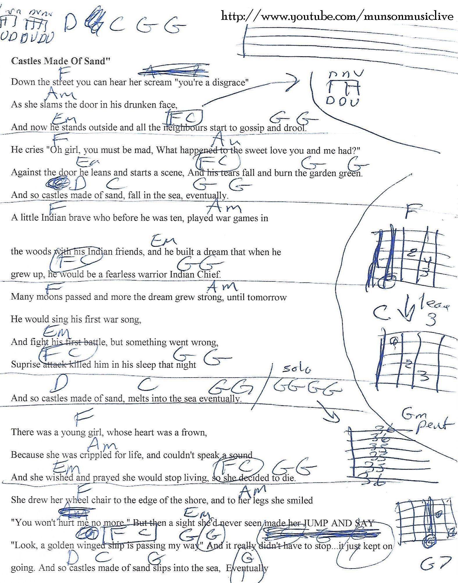 Sand Castle Wars Game : castle, Castles, (Jimi, Hendrix), Guitar, Chord, Chart, Lyrics,, Lyrics, Chords,, Music, Chords