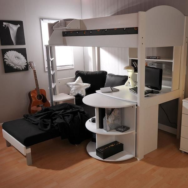 Stompa Casa 4 White Loft Bed With Desk And Pink Sofa