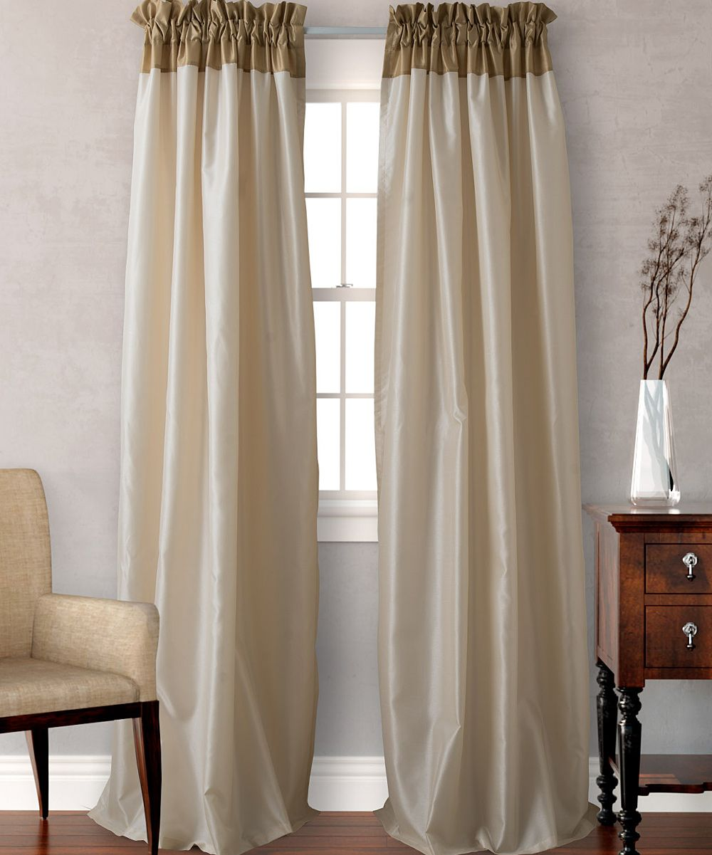 Gold Color Block Curtain Panel Set Of Two Color Block Curtains