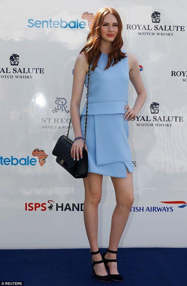 Leggy: Doctor Who actress Karen Gillan looked incredible in a duck egg blue origami dress ...