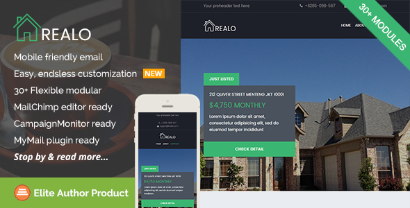 Realo, Real Estate Email Template + Builder Access | Responsive ...