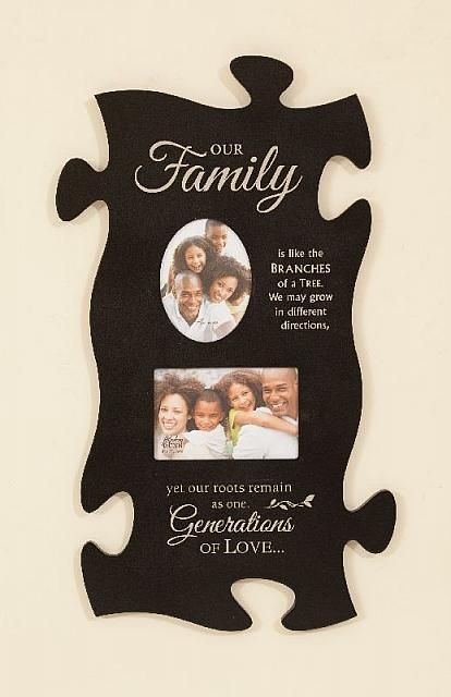 """Generations of Love"" Large Puzzle Piece Photo Frame"