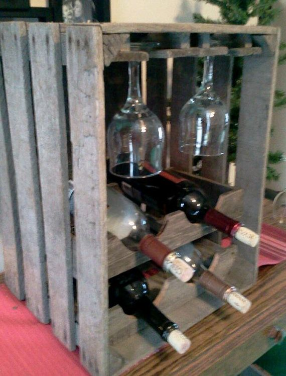 Apple crate wine and glass rack by applegroveadirondack on for Crate wine rack diy