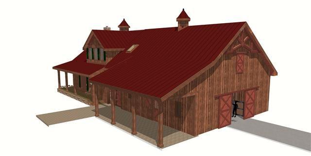 Horse barn w living quarters 3d model next house for Horse barn with living quarters plans