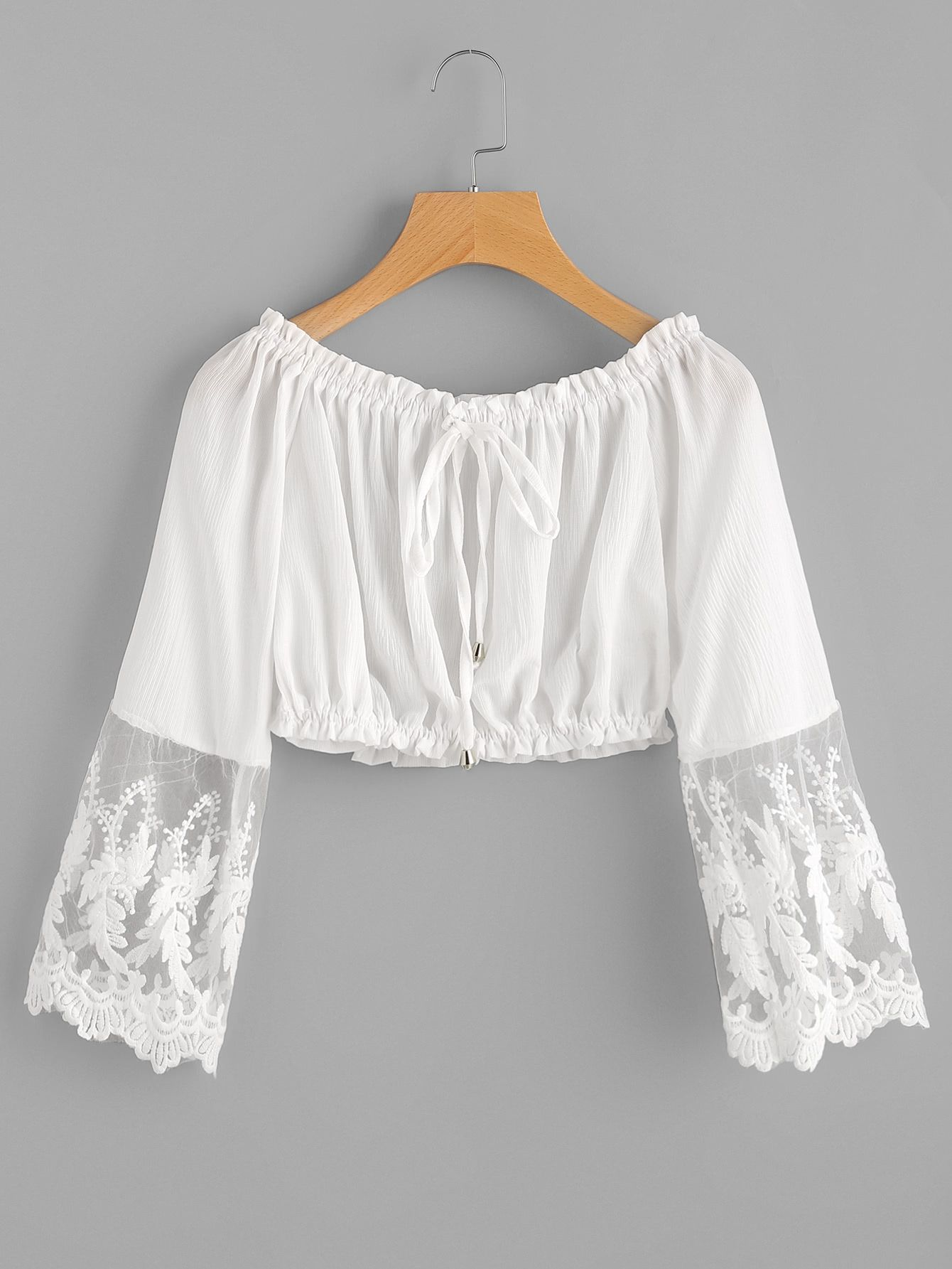32e0278bb2 Embroidered Mesh Cuff Shirred Crop Top | Clothory
