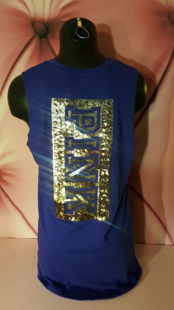 Victorias Secret PINK Blue Ombre Sequin BLING Muscle Tank Top Shirt Tunic S NWT #VictoriasSecret #EmbellishedTee