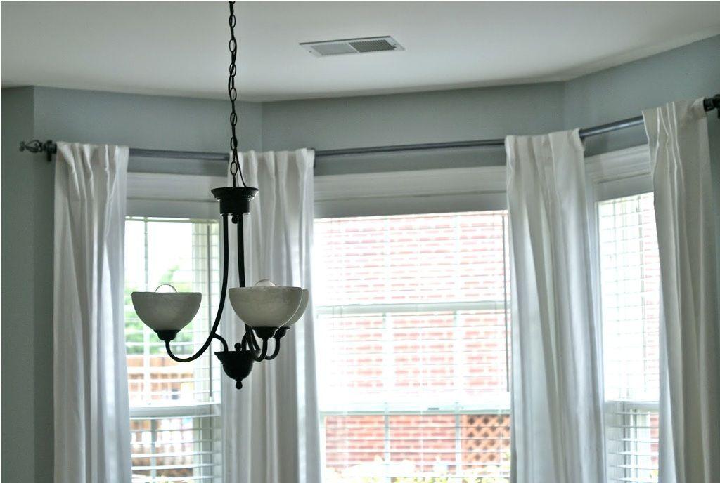 Furniture Superb Bay Window Curtain Rod White Also Bay Window