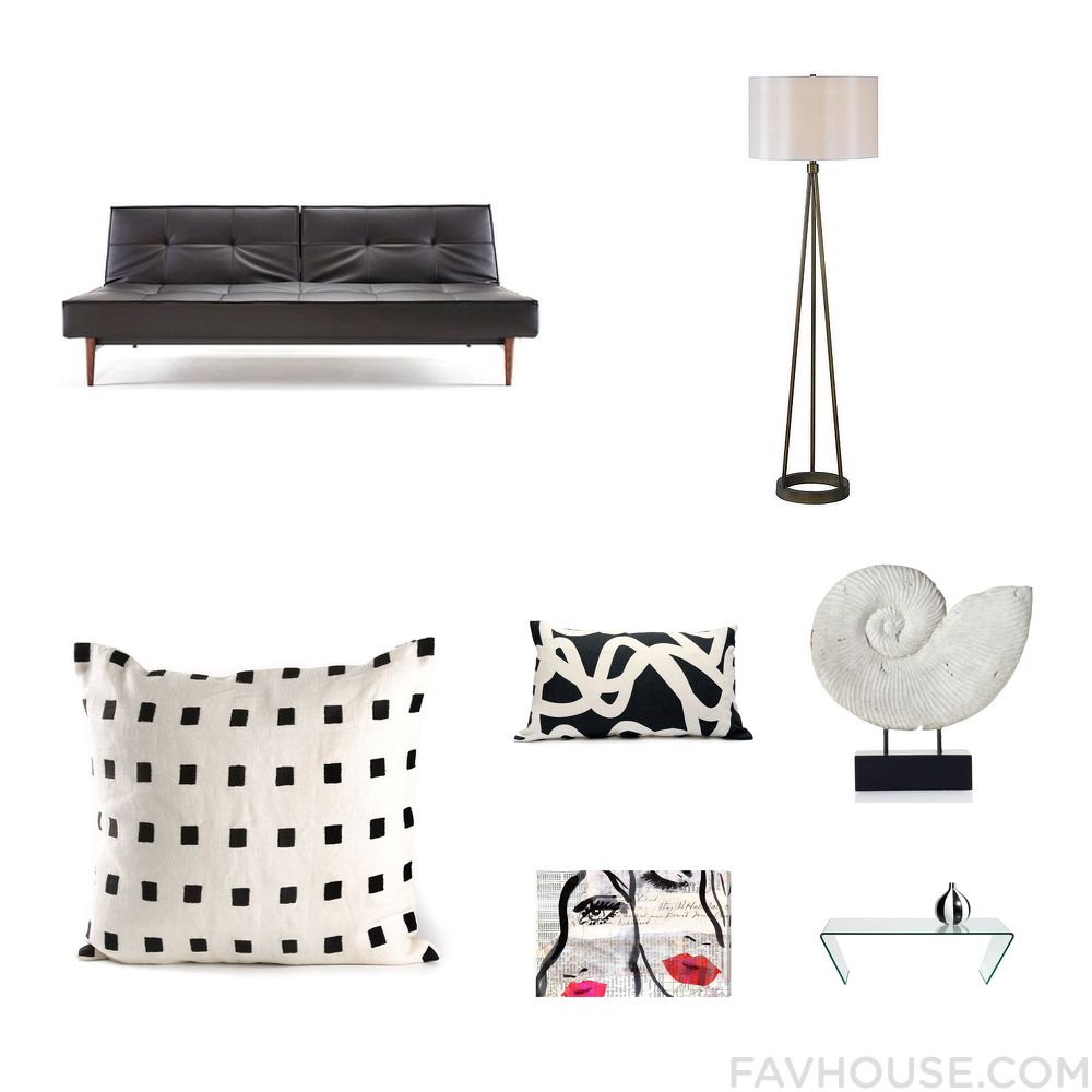 Design Recipes With Dot & Bo Sofa Metal Lamp Kelly Wearstler Throw Pillow And Charcoal Throw Pillow From April 2016 #home #decor