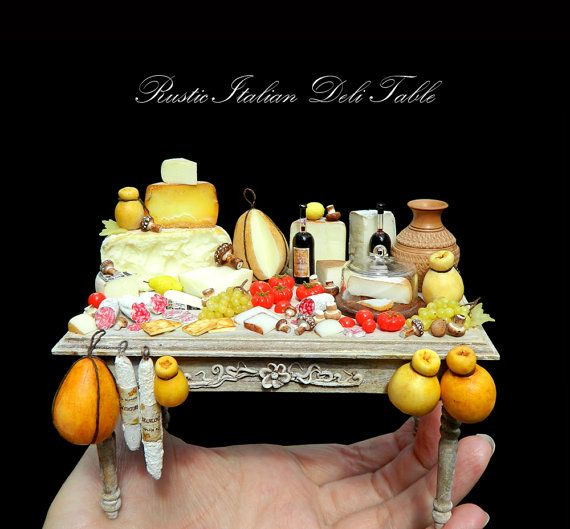 Rustic Luxury Italian Deli Table - Artisan fully Handmade Miniature in 12th scale. From After Dark miniatures.