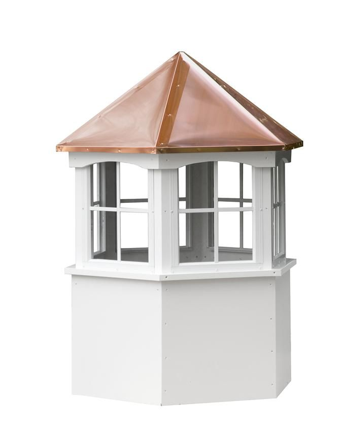 Amish Made Vinyl Hexagon Window Cupola Copper Roof Outdoor Garden Decor Cupola For Sale