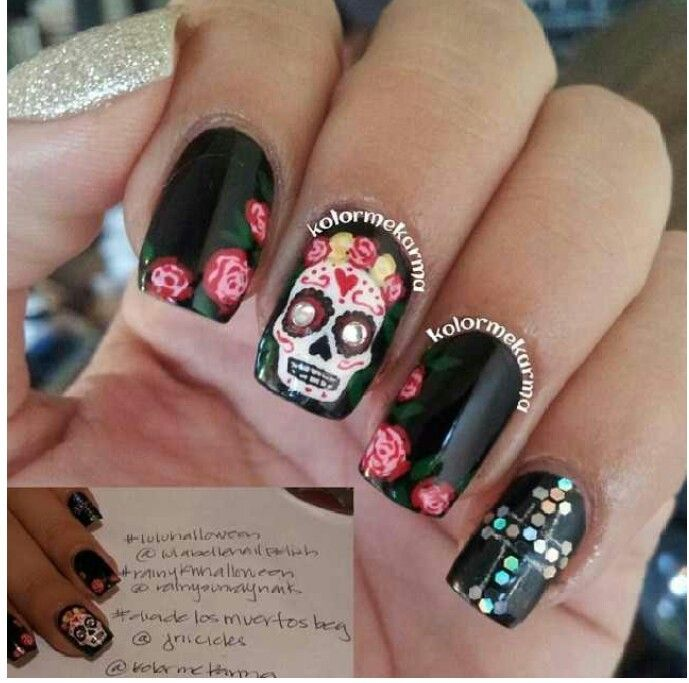 Day of the dead nails day of the dead nail art nails day of the dead nails day of the dead nail art prinsesfo Images