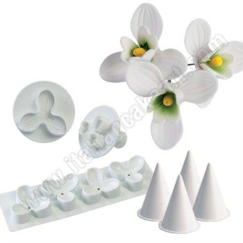 Flowers And Leaves Plunger Cutter Moulds Kit Completo Bucaneve Mold Kit Flowers And Leaves Flowers